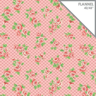 (Fabric Baby Roses Flowers on Pink Argyle Flannel by the 1/4 yard)