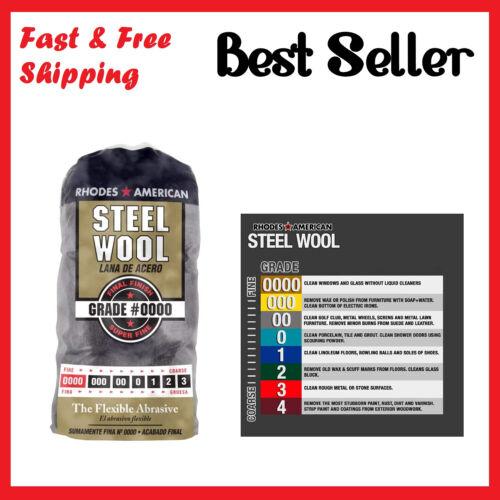Steel Wool 12 Pad Super Fine Grade #0000 Rhodes American Final Finish