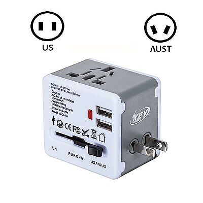 Universal AU/UK/US/EU Dual USB Travel AC Power Charger Adapter Plug Converter