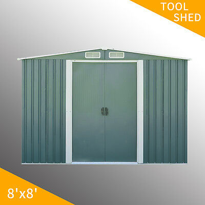 8'x8' Metal Outdoor Storage Shed Garden Backyard Toolshed House Lawn Waterproof