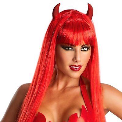 Devil Women Costume ( Red Devil Women's Glam Wig w/Horns Straight Hair Halloween Costume)
