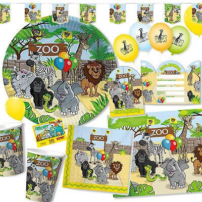 ZOO + ZOOTIERE - Geschirr Deko Kindergeburtstag Kinder Party Tiere Safari Set DH