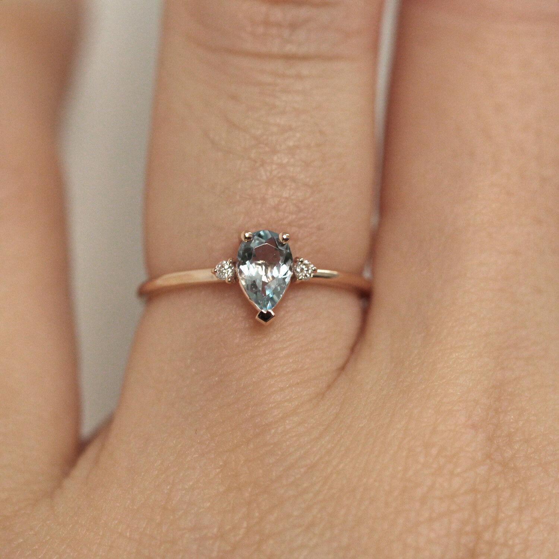 Aquamarine Ring / Aquamarine Two Diamonds Ring / Birthstone