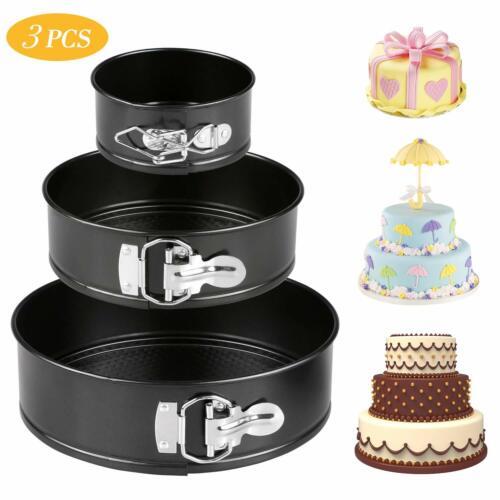 3 Sizes Carbon Steel Nonstick Springform Pan Set Cake Bake Mould Bakeware Round