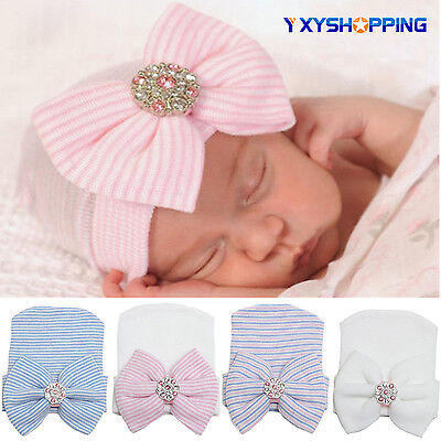 Baby Infant Hat Cap - Newborn Baby Girl Infant Stripe Bowknot Outdoor Casual Beanie Hospital Hat Cap