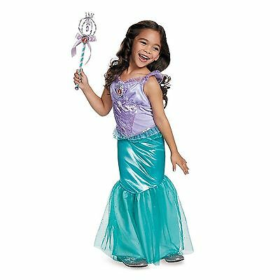 Girls Disney Classic ARIEL LITTLE MERMAID Deluxe Halloween Costume & Wand Medium - Disney Deluxe Costumes