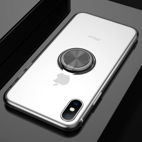 For iPhone XS Max XR X 6 7 8 Magnetic Ring Holder Clear Silicone Case Thin Cover