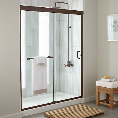 "60"" Brackett Sliding Shower Door With 60"" x 34"" Tray Oil Rubbed Bronze"