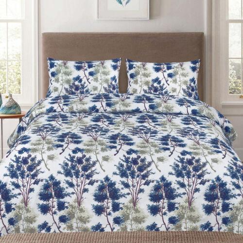 Florence Blue/Green Floral Reversible 3-Piece Duvet Cover Set Bedding