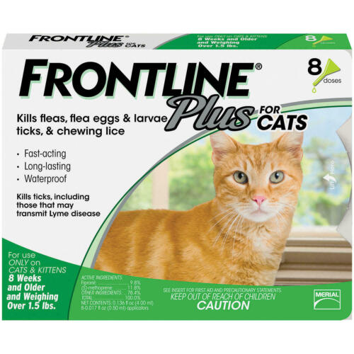 FRONTLINE PLUS for Cats and Kittens Flea and Tick Treatment Flea Control-8 Doses
