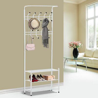 Metal Coat and Shoe Rack Storage Home Organizer 18 Hooks 3 Shelves White