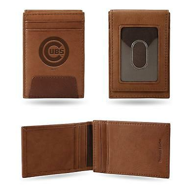 Chicago Cubs - MLB - Brown Leather Money Clip Front Pocket Wallet (Leather Mlb Wallet)