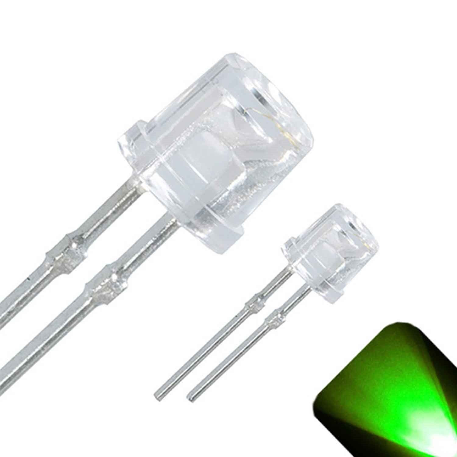20 x LED 3mm Pure Green Ultra Bright Water Clear Round Top LEDs Light Lamp Car