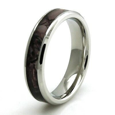 Stainless Steel Wood Camouflage Womens Wedding Band Ring 5MM | FREE (Wood Womens Ring)