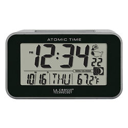 617-1270 La Crosse Technology Atomic Digital Alarm Clock with Blue LED Backlight