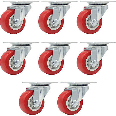 Lot Of 8 1.5 Low Profile Caster Wheels Soft Rubber Swivel Caster Red