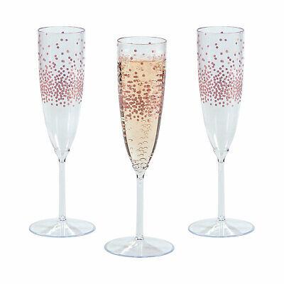 Premium Plastic Rose Gold Dot Champagne Flutes - Party Supplies - 25 Pieces
