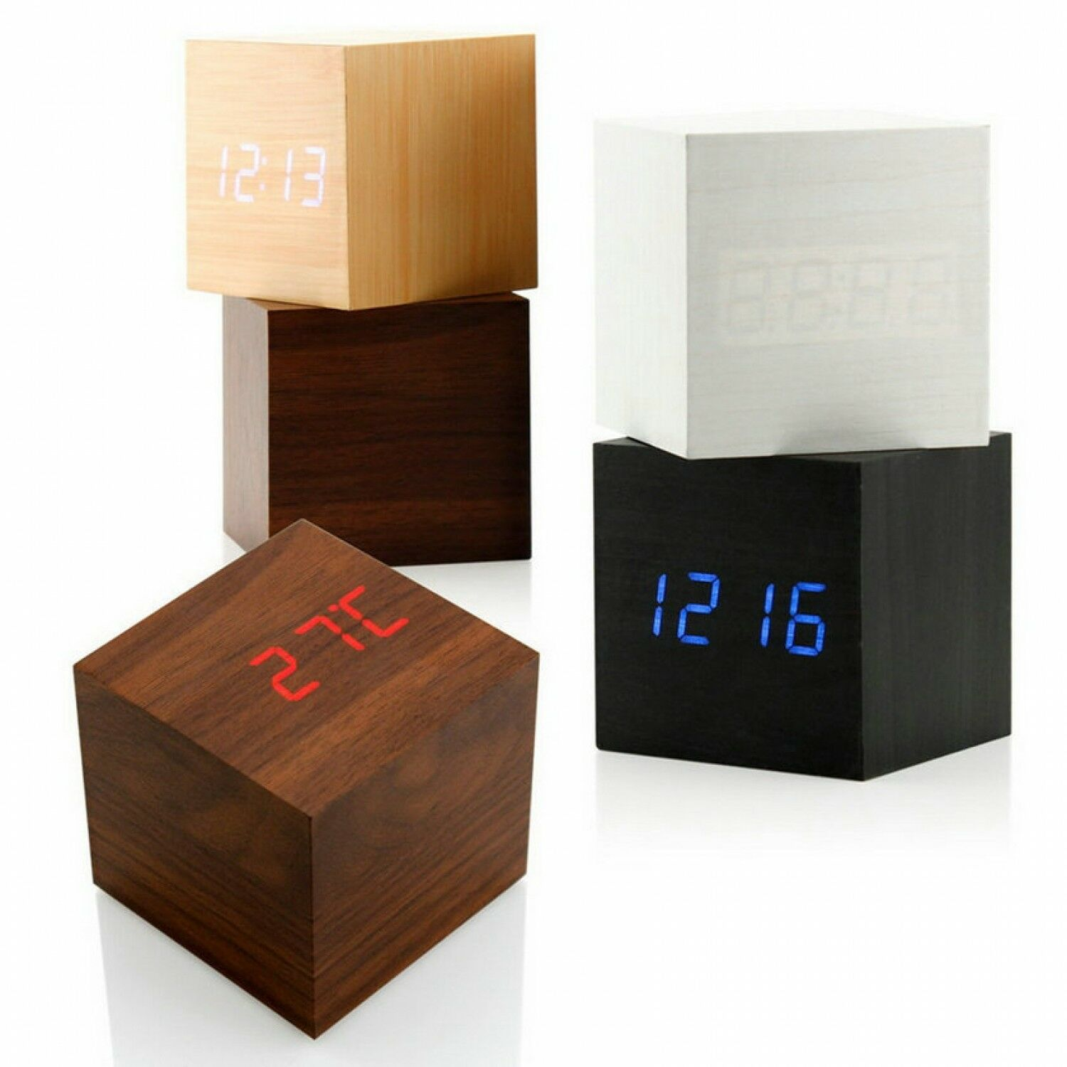 LED Digital Alarm Clock Wooden Thermometer USB Touch Activate Date Voice Display