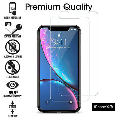 For Apple iPhone XR Tempered Glass Screen Protector Genuine Clear Transparent X2