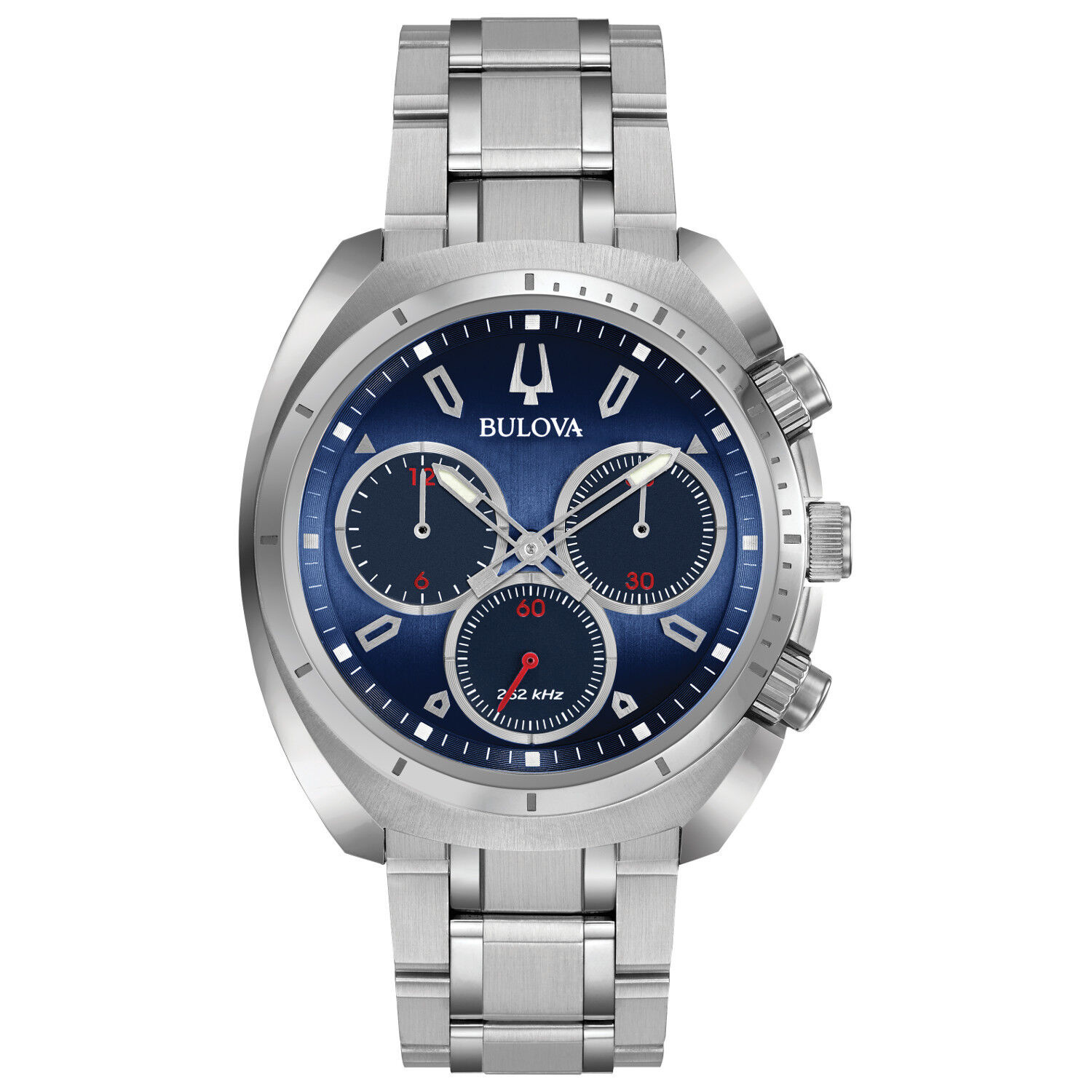 061f1a35b28 Details about Bulova Curv Men s Chronograph Blue Dial Quartz Bracelet 43mm  Watch 96A185