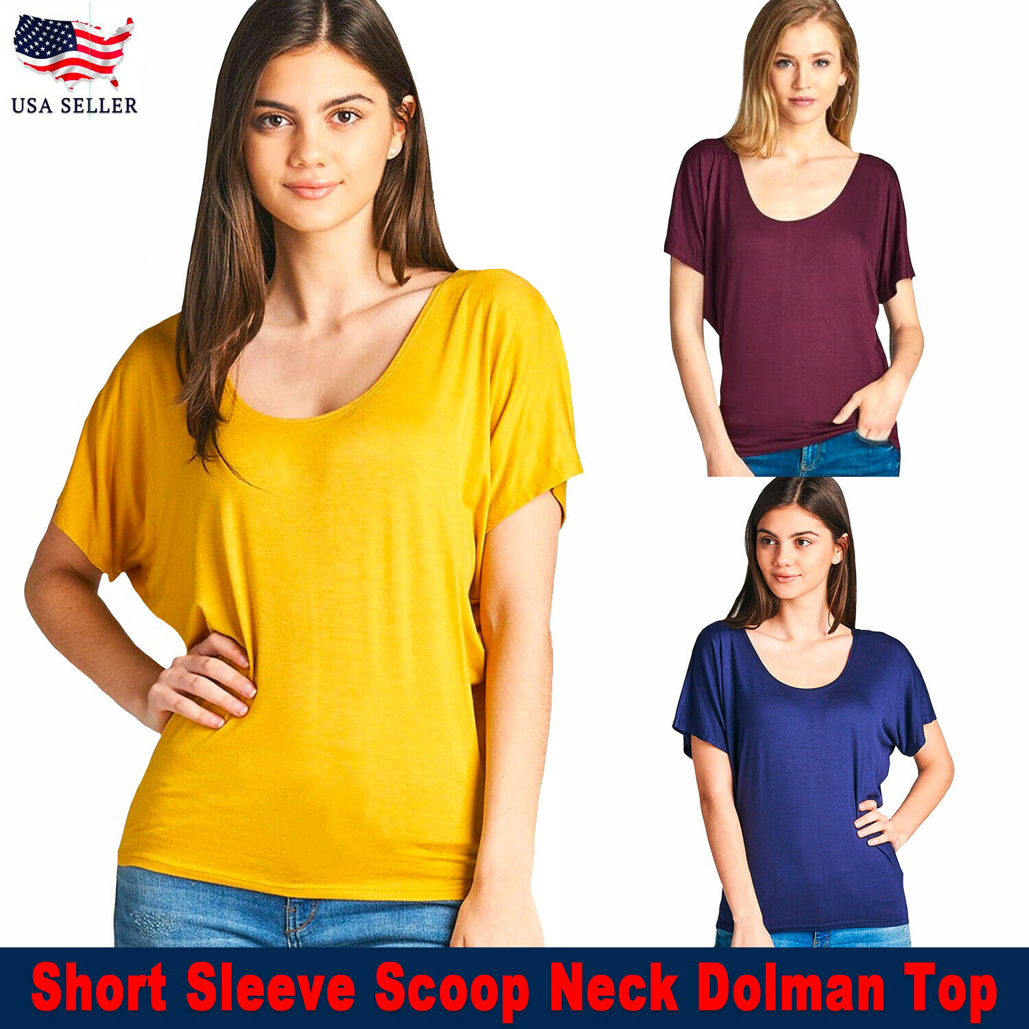 USA New Women Active Short Sleeve Scoop Neck Dolman Tops Solid Color Size S,M,L