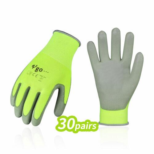 Vgo 15/30Pairs PU Coated Painting,Yardwork,Gardening,DIY,Work Gloves (PU2103-Y)