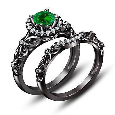 Disney Diamond & Green Sapphire Engagement Ring Bridal Sets 14k Black Gold Over, used for sale  Shipping to United States