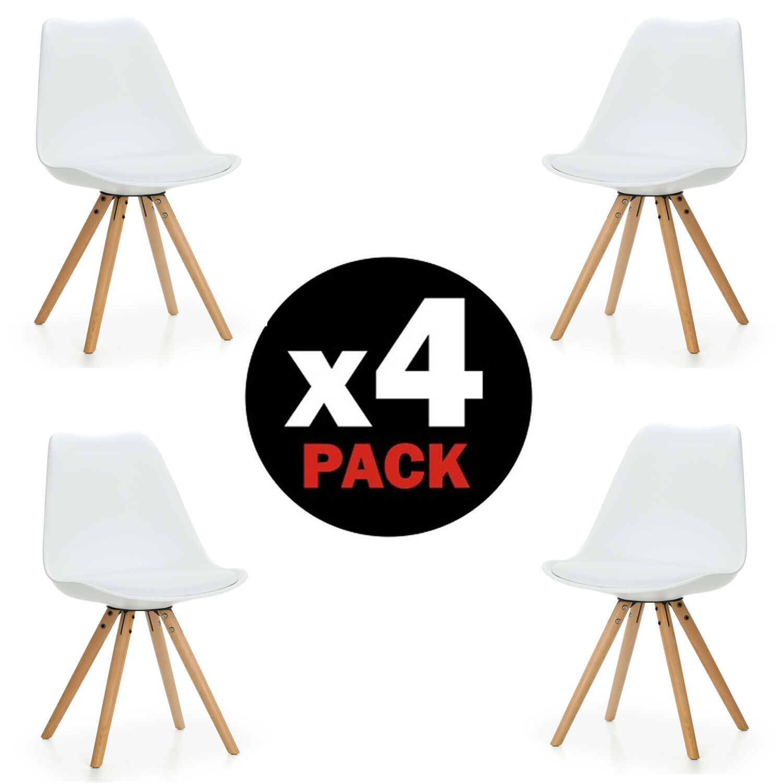 Pack 4 sillas de comedor blancas silla dise o n rdico for Sillas de diseno blancas