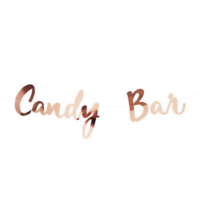 Candybar Girlande Banner 1,5m Roségold für JGA Hochzeit Geburtstage Party Deko