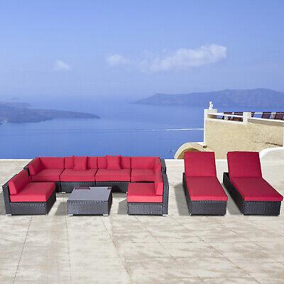 Outsunny 9pcs Rattan Sofa Set Patio Wicker Furniture Lounger Dark Coffee