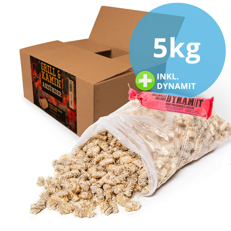 5 kg Grillanzünder Anzünder BBQ Holzanzünder aus Holzwolle und Wachs