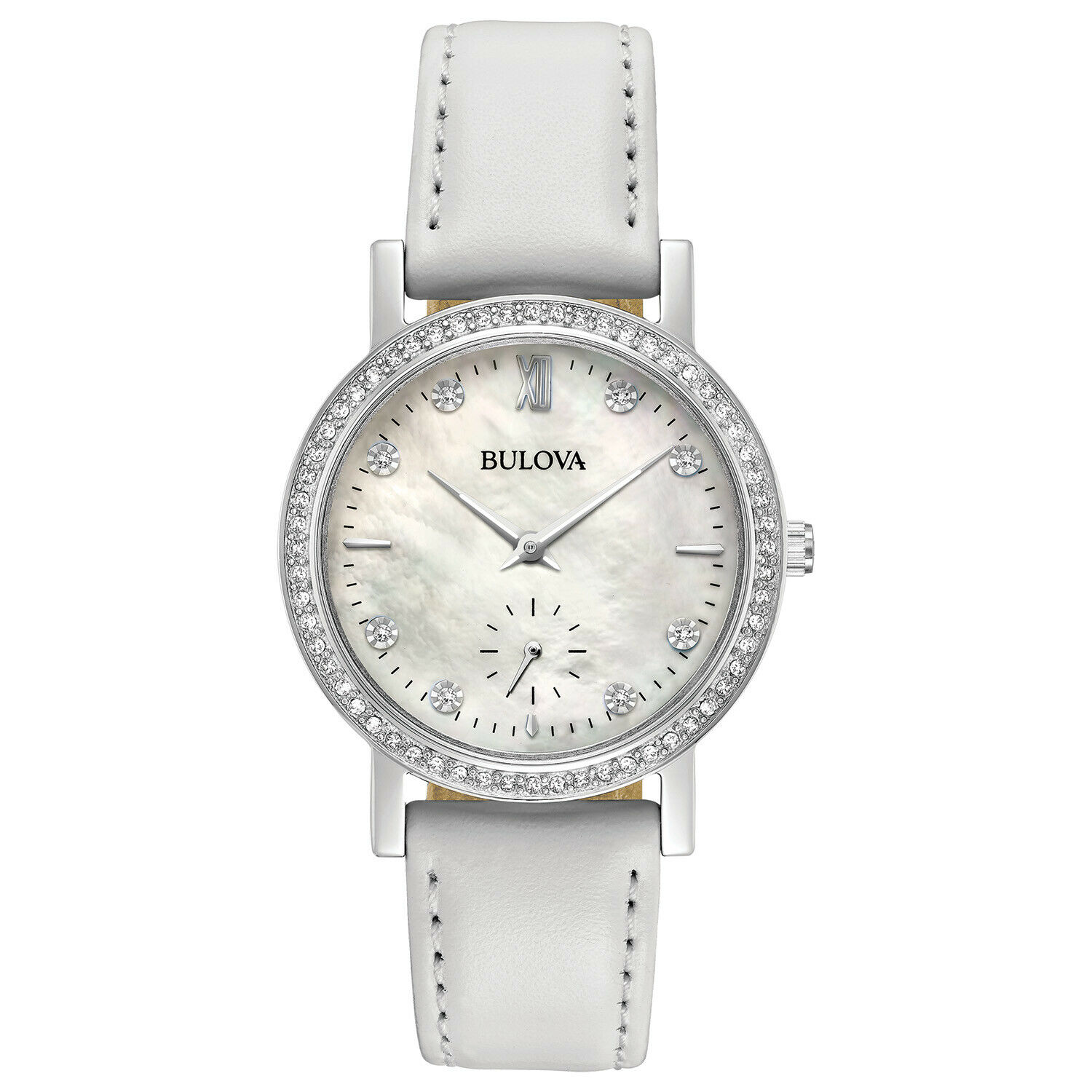 Bulova Women's Quartz Crystal Markers 32mm White Leather Band Watch 96L245