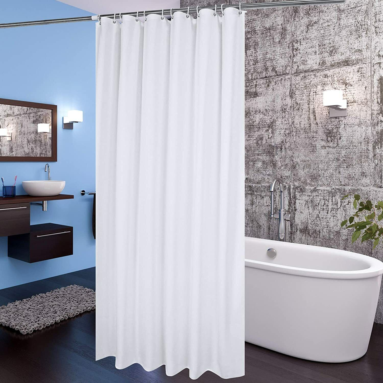 Shower Curtain Fabric Liner with Hooks Waterproof Weighted Hem