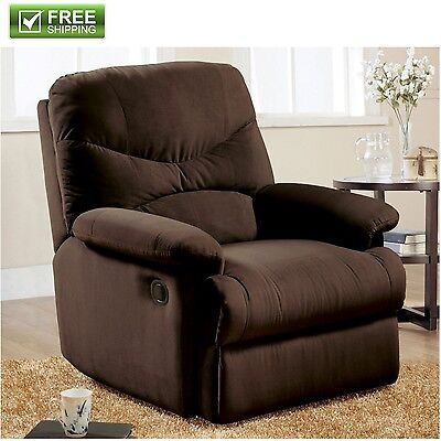 Microfiber Recliner Brown Armchair Ottoman Soft Padded Chair Furniture New!
