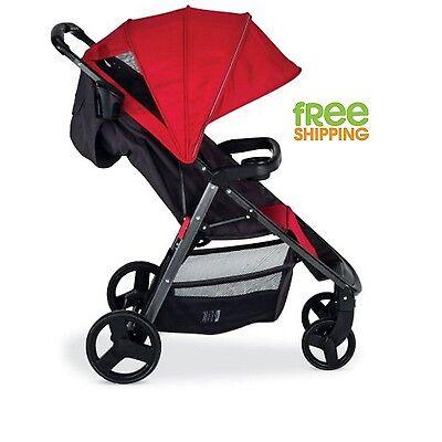 Lightweight Baby Stroller Aluminum Kid Pram Folding Reclining Seat Carriage Red