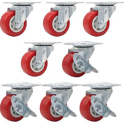 Lot Of 8 1.5 Low Profile Caster Wheels Rubber Swivel W Side Brake Red Combo