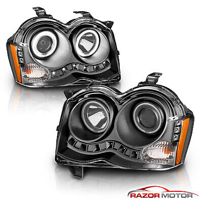 [Dual CCFL Halo] 2008-2010 Jeep Grand Cherokee LED DRL Projector Headlights Set