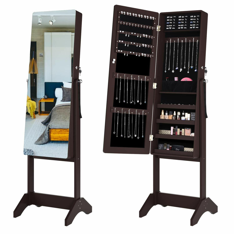 Lockable Mirrored Jewelry Cabinet Armoire Mirror Organizer S