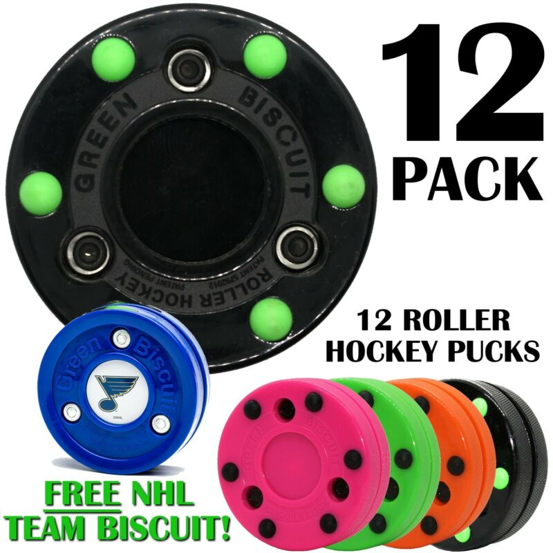 Green Biscuit Roller Hockey Puck 12 Pack Multi Color with Free NHL Puck