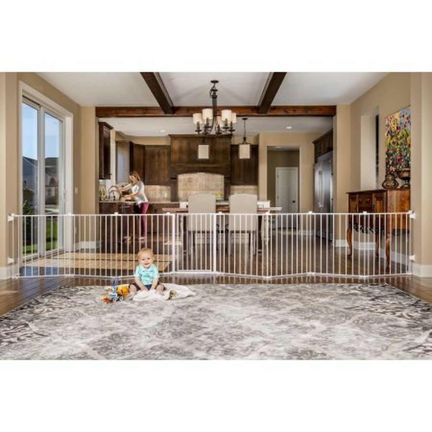Baby Pet Dog Extra Wide Safety Metal Gate Play Yard Indoor Outdoor