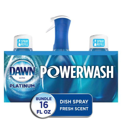 Dawn Platinum Powerwash Dish Spray, Dish Soap,Fresh Scent Bundle,1 spray 2 refil