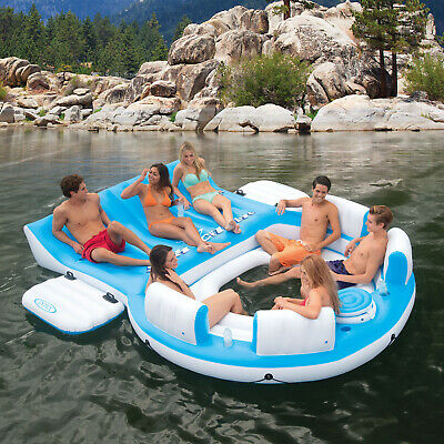 Inflatable Island Raft Floating Pool Party 7 Person Lake Lounge Float Cooler NEW (Pool Party Floats)