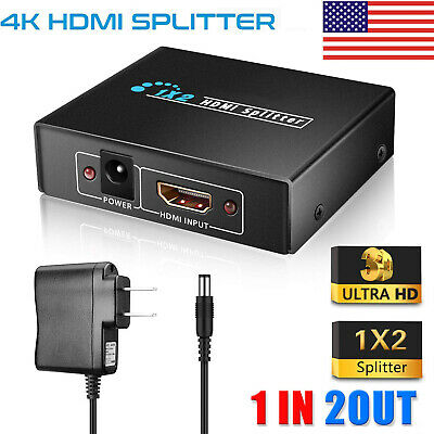 Full HD 1080p 4K HDMI Splitter 1 In 2 Out 1X2 2 Port Repeater Amplifier v1.4 3D