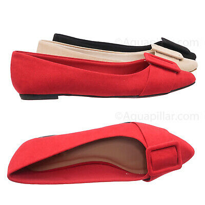 Blog57 Pointed Toe Flats - Women Dressy Ballet Shoes w Puritan Square Buckle - Shoes Flats Dressy
