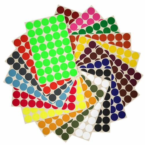 Round Stickers Colored Labels 19mm 3/4 Inch Circle Dots for Marking 720 Pack