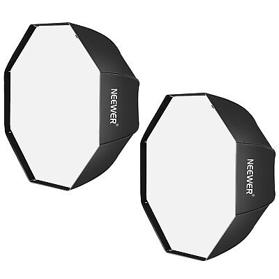 Neewer 2 Pack 47 inch Black Portable Octagonal Umbrella Softbox for Studio Flash