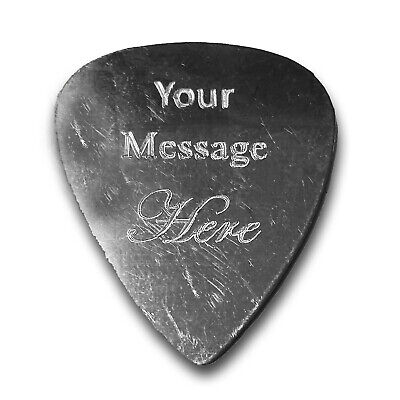 DOUBLE SIDED Custom Engraved Guitar Bass Pick Customizable Gift SILVER New