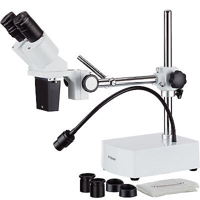 Amscope 10x-20x Led Binocular Stereo Microscope Boom Arm Led Gooseneck