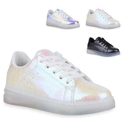 Damen Sneaker Holo Turnschuhe Lack Metallic Freizeitschuh 830102 Trendy Neu