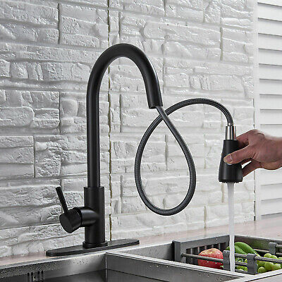 Kitchen Sink Faucet Pull Out Sprayer Swivel Black Mixer Tap W/ Cover